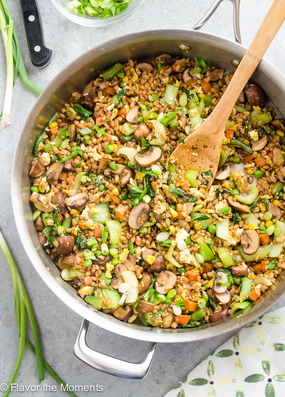 overhead shot of farro fried rice in skillet