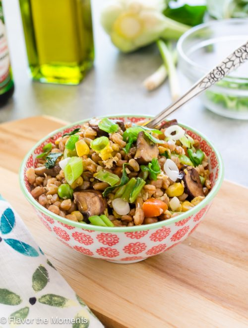 close up front view of farro fried rice in small bowl with fork