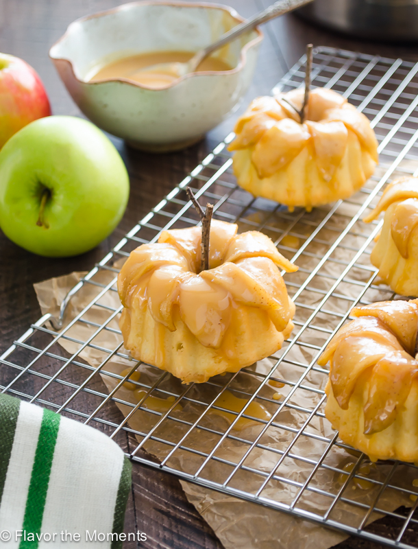 caramel apple pound cakelettes on wire rack