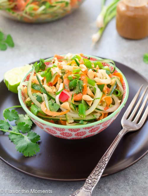 Thai Carrot Cucumber Noodle Salad with Peanut Lime Dressing