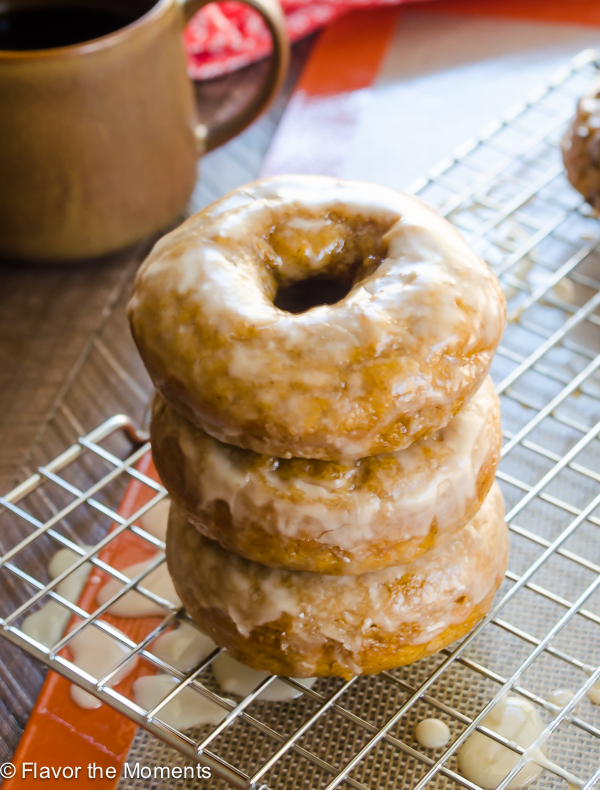 stack of baked pumpkin donuts