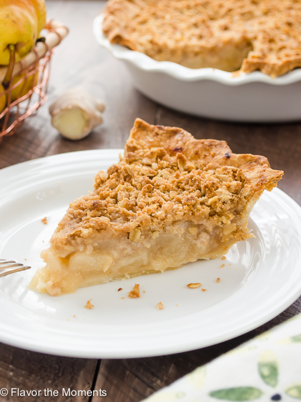 slice of pear pie on white plate