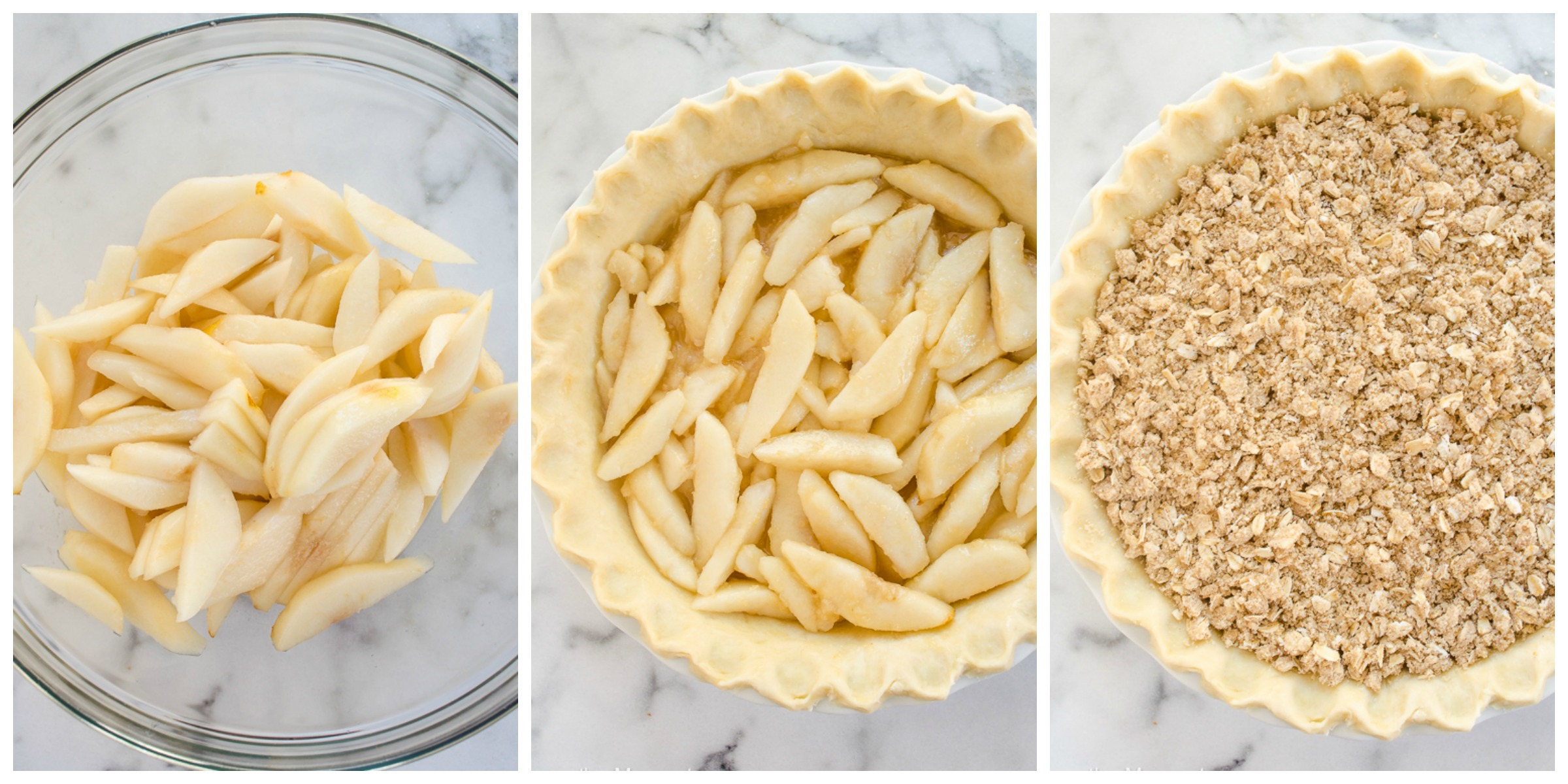 Pear Crumble Pie process collage 2