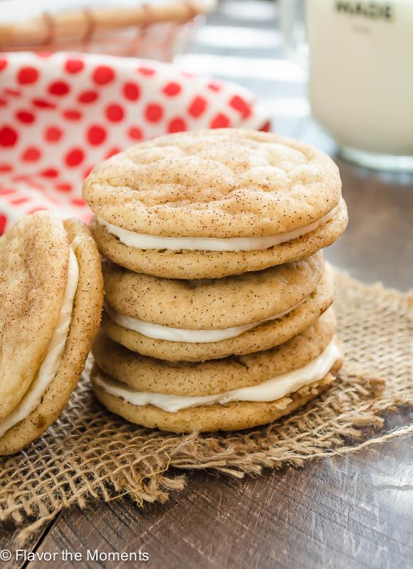 Stack of snickerdoodle sandwich cookies