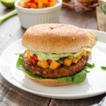 Spicy Black Bean Veggie Burgers with Persimmon Orange Salsa and Avocado Cream | flavorthemoments.com