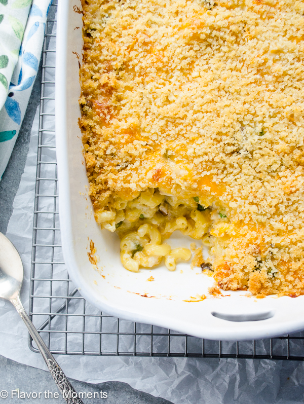 baking dish with serving of mac and cheese casserole missing