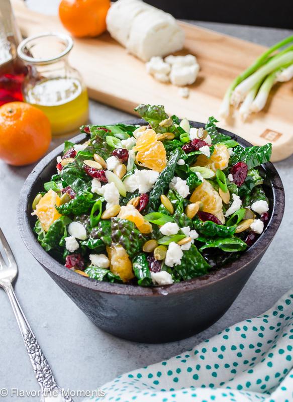 Citrus kale salad in bowl