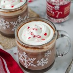 Slow Cooker Peppermint Hot Chocolate is made with real dark chocolate and cocoa for the best and easiest cup of hot chocolate ever! @FlavortheMoment