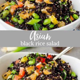 black rice salad collage pin