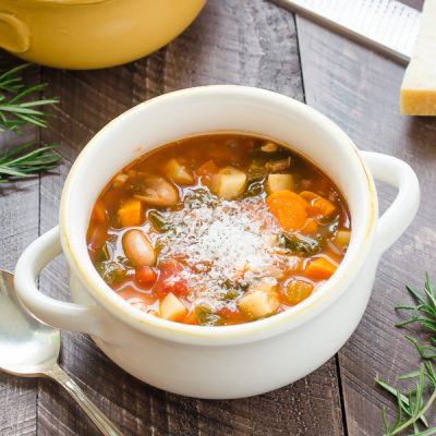 Winter Minestrone Soup with Pancetta isa winter spin on classic minestrone with seasonal winter veggies likesweet potatoes, parsnips, and kale! {GF}
