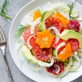Citrus, Fennel, and Avocado Salad is an addicting combination of crunchy fennel, tangy citrus, and creamy avocado with a citrus maple vinaigrette! @FlavortheMoment