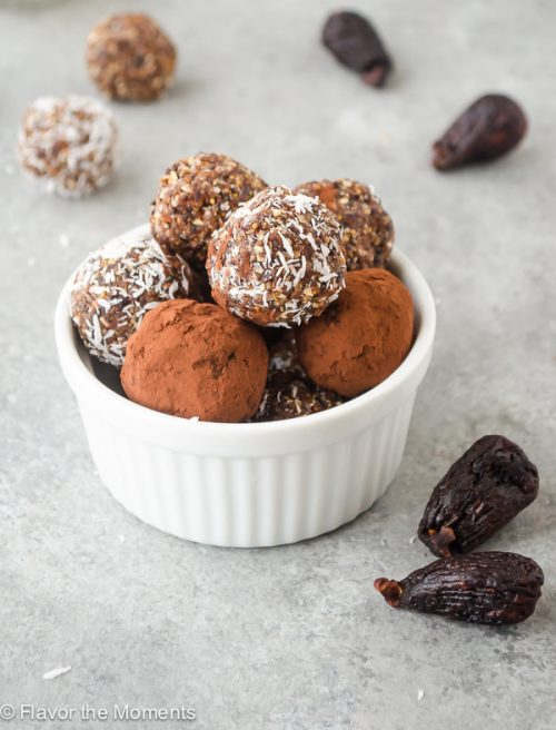 close up of Fig Almond Energy Bite Truffles in a white ramekin