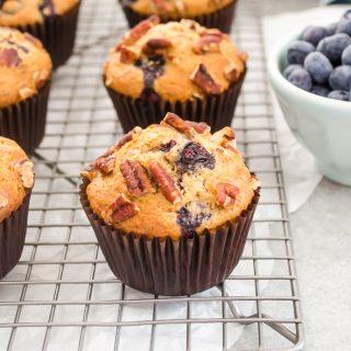 Healthier Blueberry Pecan Bran Muffins