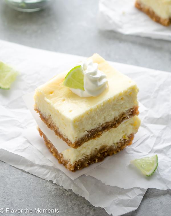 overhead shot of key lime cheesecake bars
