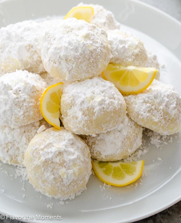 overhead close up shot of meyer lemon greek butter cookies kourabiedes