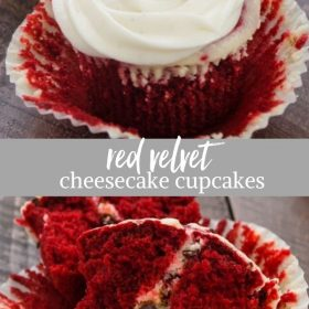 red velvet cheesecake cupcakes collage