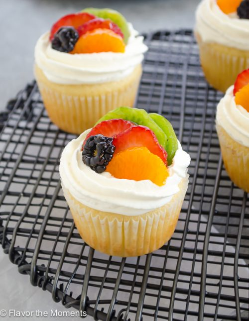 front view of fruit tart vanilla cupcakes