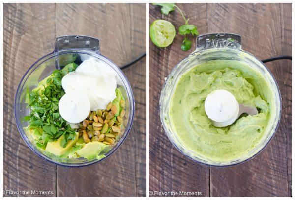 creamy avocado dressing in food processor