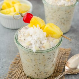 Pina Colada Chia Overnight Oats are creamy overnight oats with the flavors of a pina colada. They're easy, delicious and great for meal prep! #breakfast #mealprep #overnightoats #pinacolada