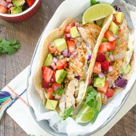 Fish Tacos with Strawberry Avocado Salsa are a healthy 30 minute meal with fresh Mexican flair! @FlavortheMoments