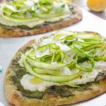 Shaved Asparagus Ricotta Flatbread is an easy, flavorful flatbread with pesto, creamy ricotta, and ribbons of shaved asparagus! @FlavortheMoment