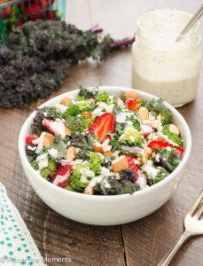 Broccoli Kale Salad with Greek Yogurt Poppy Seed Dressing is a super salad with both broccoli and kale, tossed in a sweet Greek yogurt dressing with no mayo! @FlavortheMoment