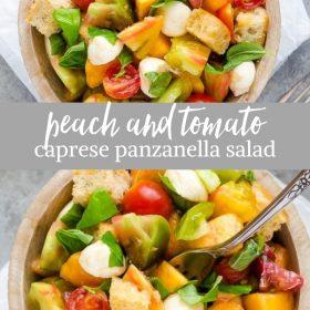 peach and tomato caprese salad collage