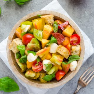 Heirloom Tomato and Peach Caprese Panzanella Salad