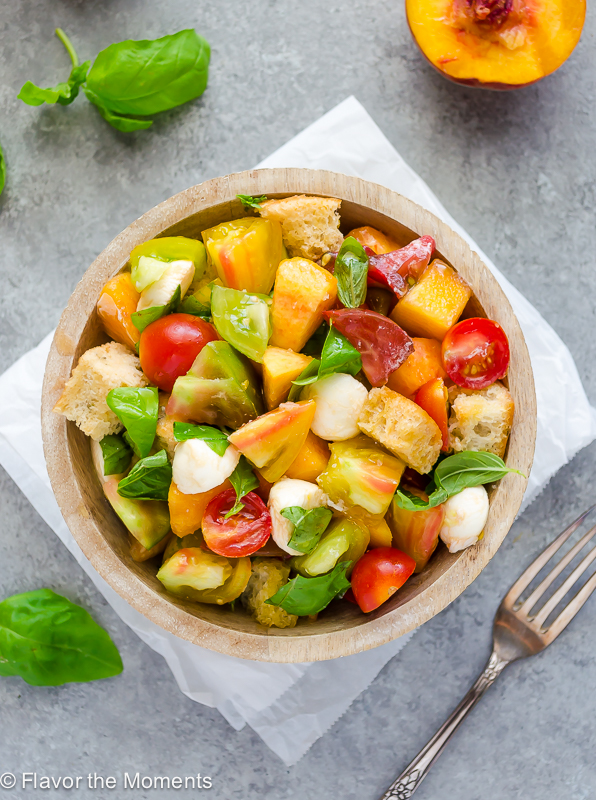 heirloom tomatoes and juicy peaches tossed with basil mozzarella and ...