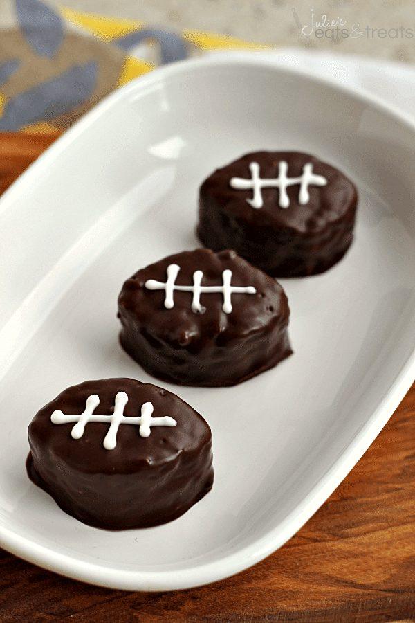 Football scotcheroos on a white plate
