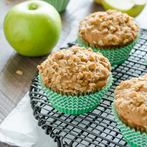 apple crisp muffins on wire rack