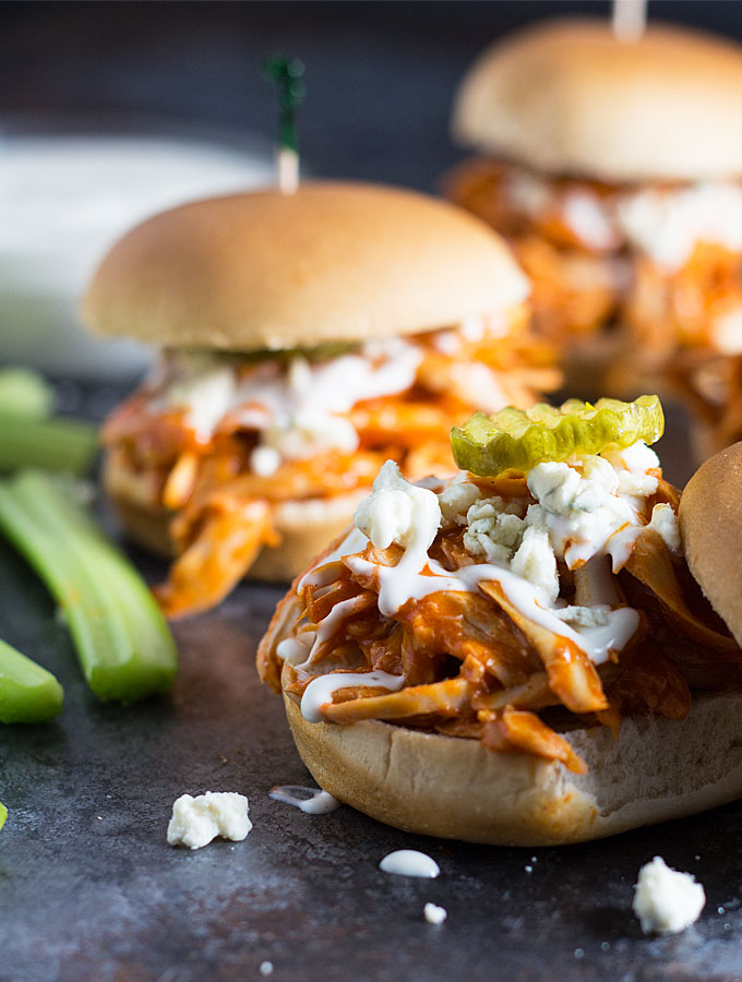 Buffalo chicken sliders with blue cheese and pickle