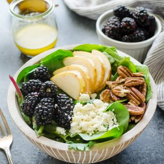 Power Green Salad with Pear and Blackberries