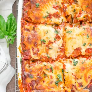 Ratatouille Lasagna in baking dish