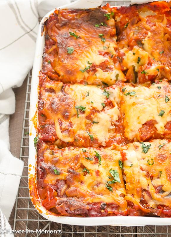 Ratatouille Lasagna in baking dish cut into squares