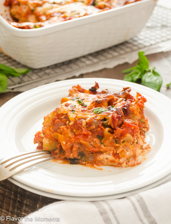 Serving of ratatouille lasagna on a plate