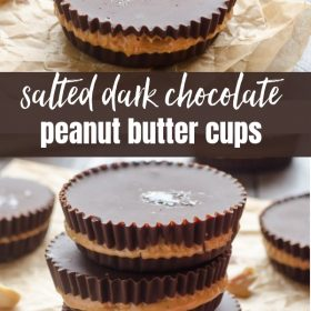 Salted Dark Chocolate Peanut Butter Cups are a healthier, homemade peanut butter cups with no added sugar and only 4 ingredients!