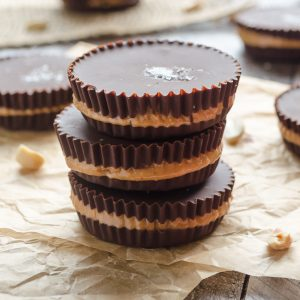 homemade peanut butter cups stacked up