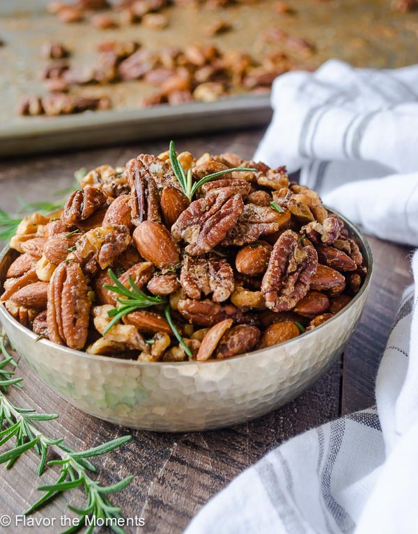 Spicy Maple Rosemary Roasted Nuts are a delicious, easy appetizer for ...