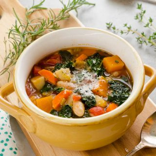 Autumn Vegetable Soup is packed with fall veggies, herbs, and white beans. It's a hearty, delicious way to get more veggies into your diet! @FlavortheMoment
