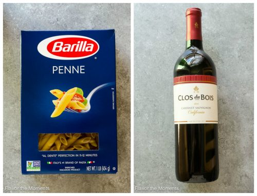 Barilla pasta and bottle of Clos du Bois wine collage