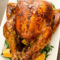 overhead shot of dry brined roasted turkey
