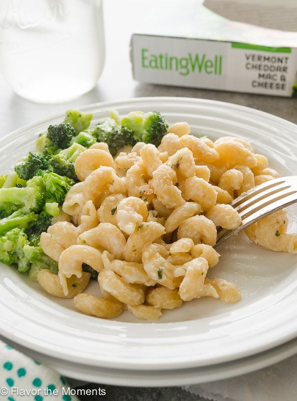 EatingWell mac and cheese dinner on a plate