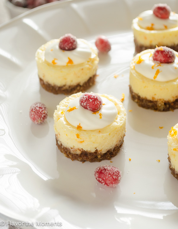 Mini Cranberry Orange Cheesecakes on white server with whipped cream and cranberries