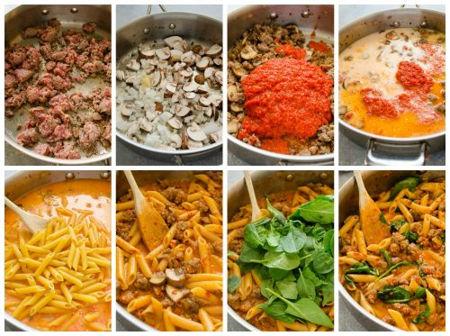 How to make creamy sausage red pepper pasta collage