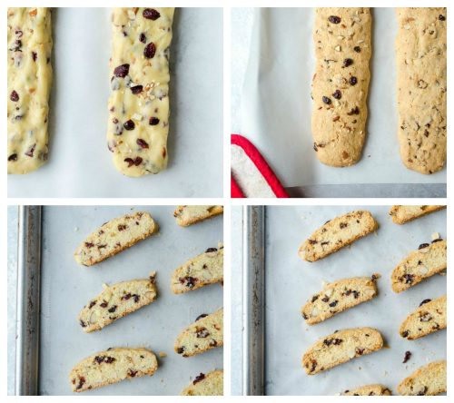 Cranberry orange biscotti process collage 2