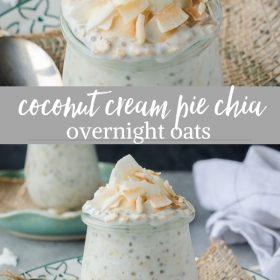 coconut cream pie chia overnight oats collaage