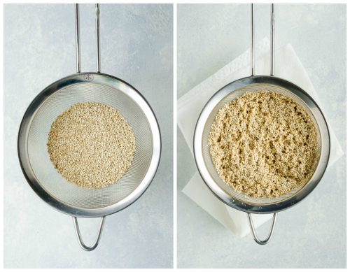 Straining quinoa in sieve collage