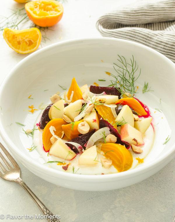 front shot of beet apple salad in citrus honey yogurt