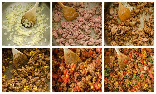 Mexican turkey tortilla casserole process collage